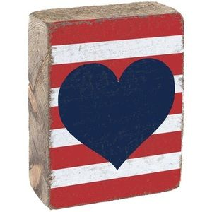 Rustic Marlin American Heart Rustic Block
